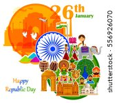26th january  happy republic... | Shutterstock .eps vector #556926070