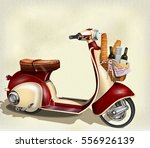 old scooter with  basket of... | Shutterstock .eps vector #556926139