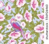 flowers and bird. seamless... | Shutterstock .eps vector #556926460