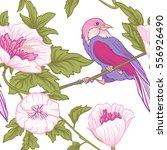 flowers and bird. seamless... | Shutterstock .eps vector #556926490