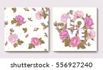 set of seamless patterns with... | Shutterstock .eps vector #556927240