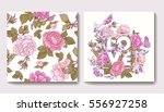 set of seamless patterns with... | Shutterstock .eps vector #556927258