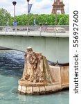 Small photo of PARIS, FRANCE - JULY 06, 2016 : Pont de l'Alma (Alma Bridge in English) is a road bridge in Paris across the Seine and Zouave statue. Paris .