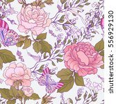 seamless patterns with rose... | Shutterstock .eps vector #556929130