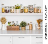 kitchen bench shelves with...   Shutterstock . vector #556935394