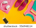 athlete's set with female... | Shutterstock . vector #556948114