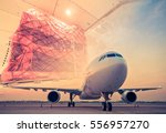 double exposure of air cargo... | Shutterstock . vector #556957270