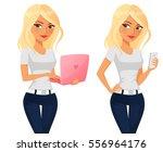 cute blonde cartoon girl with... | Shutterstock .eps vector #556964176
