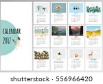 colorful cute monthly calendar... | Shutterstock .eps vector #556966420
