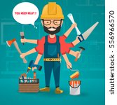 construction worker with hand... | Shutterstock .eps vector #556966570