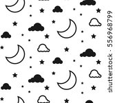 moon and clouds seamless kid... | Shutterstock .eps vector #556968799