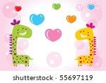 merry dinosaur couple doodle | Shutterstock .eps vector #55697119