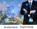 double exposure businessman... | Shutterstock . vector #556973548