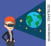 happy gamer wearing futuristic... | Shutterstock .eps vector #556978120