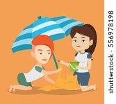 young caucasian women making... | Shutterstock .eps vector #556978198
