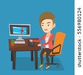 caucasian woman sitting at desk ... | Shutterstock .eps vector #556980124