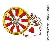 poker cards and roulette wheel... | Shutterstock .eps vector #556981564