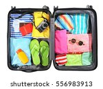 opened traveler case on white... | Shutterstock . vector #556983913