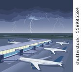 storm on the airport | Shutterstock .eps vector #556985584