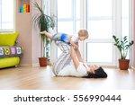 portrait of young happy mother...   Shutterstock . vector #556990444