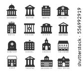 government building icon set.... | Shutterstock .eps vector #556992919