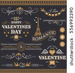 set of love and romantic... | Shutterstock .eps vector #556993390