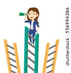business woman searching for... | Shutterstock .eps vector #556994386