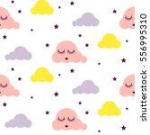 sleepy clouds girlish seamless... | Shutterstock .eps vector #556995310