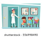 sick children doctor sitting on ... | Shutterstock .eps vector #556998490