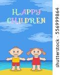 funny cartoon children on sea... | Shutterstock .eps vector #556999864