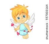 funny cupid cartoon character... | Shutterstock .eps vector #557003164