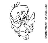outlined funny cupid cartoon... | Shutterstock .eps vector #557003830