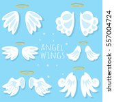 angel wings set. cartoon vector ... | Shutterstock .eps vector #557004724