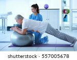 physiotherapist working with... | Shutterstock . vector #557005678