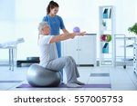 physiotherapist working with... | Shutterstock . vector #557005753
