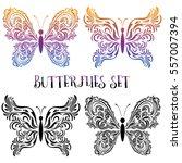 set butterflies pictograms ... | Shutterstock .eps vector #557007394