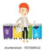 woman throwing away garbage.... | Shutterstock .eps vector #557008513