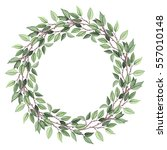 wreath with watercolor green... | Shutterstock . vector #557010148