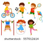 active kids playing outdoors | Shutterstock vector #557012614