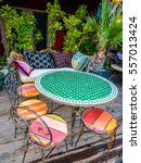 Small photo of Table of an outdoor dehors alfresco bar restaurant hdr