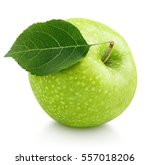 Single Ripe Green Apple With...