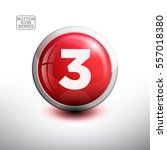 number 3 in 3d glossy green... | Shutterstock .eps vector #557018380