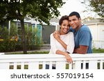 young african american couple... | Shutterstock . vector #557019154