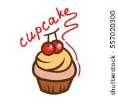tasty cupcake icon. simple... | Shutterstock .eps vector #557020300