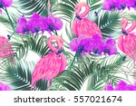tropical flowers  palm leaves ... | Shutterstock .eps vector #557021674