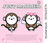 lovely couple cute monkey just... | Shutterstock .eps vector #557022574