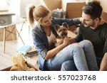 having a break from moving... | Shutterstock . vector #557023768