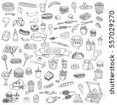 hand drawn doodle fast food... | Shutterstock .eps vector #557029270