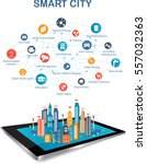 smart city on a digital touch... | Shutterstock .eps vector #557032363