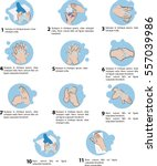 wash hands step by step | Shutterstock .eps vector #557039986